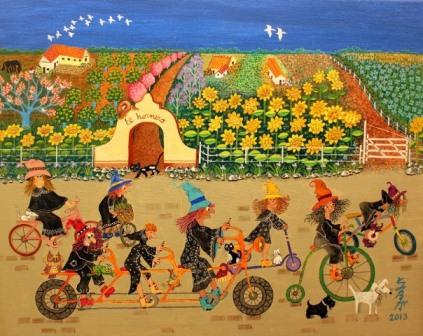 האומנית מרתה דומינגה מארגנטינה. היצירה - המכשפות המדוושות 2013. 40 על 50 אקריליק על בד